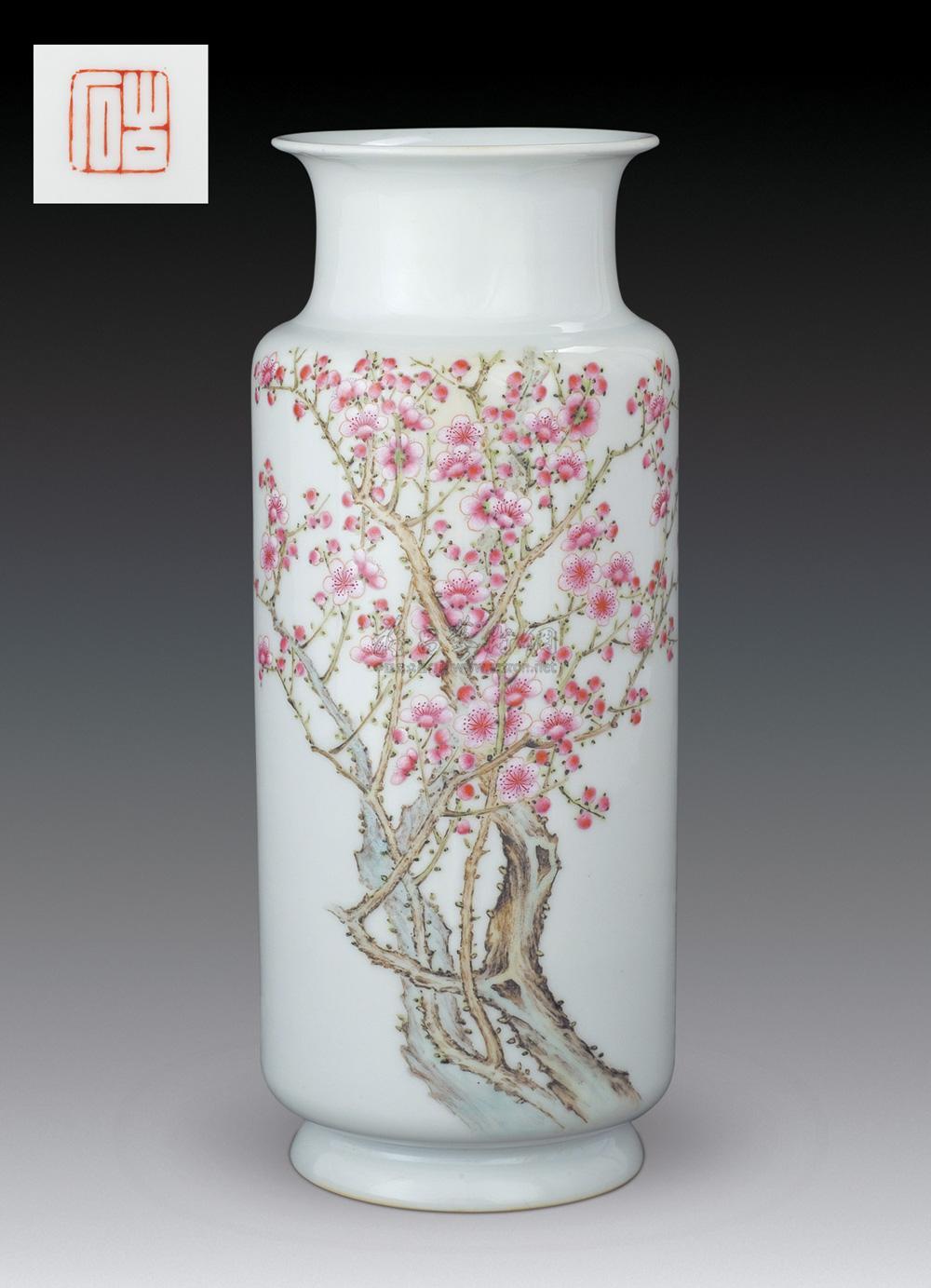 0358 1938年 粉彩梅花纹瓶