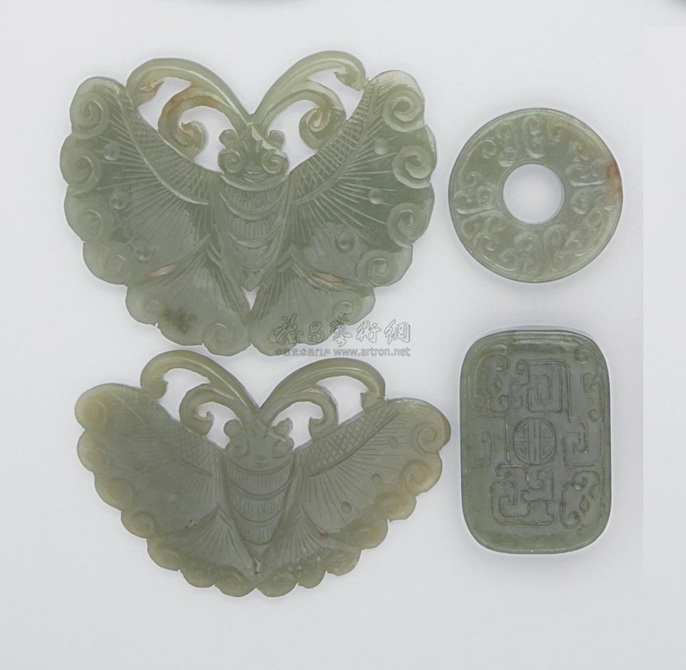 1057 清 白玉雕花件 (四件)
