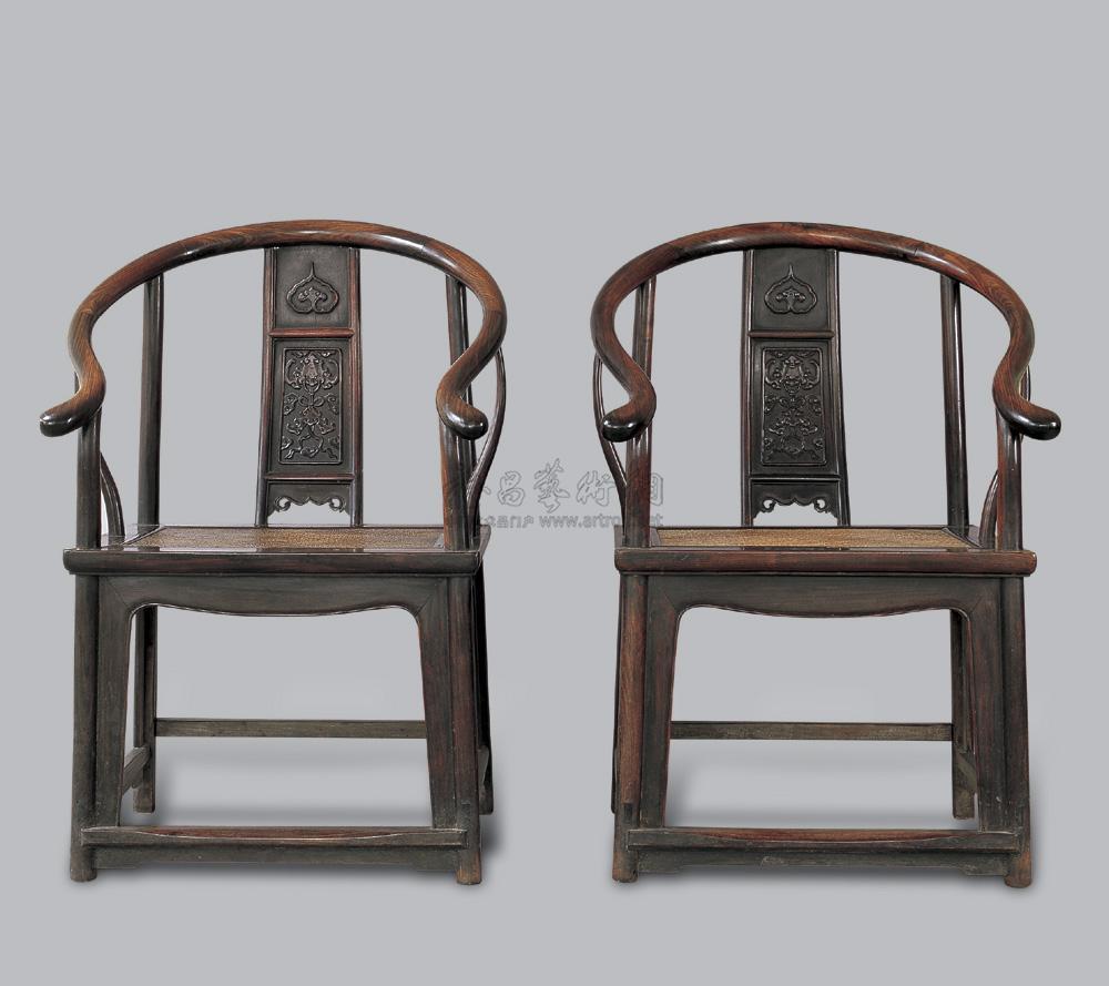 3040 清中期 红木圈椅 (一对)