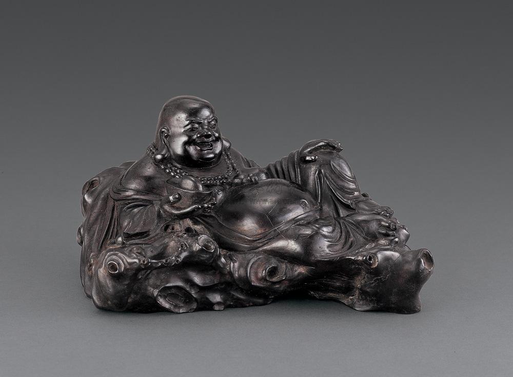0095 清 紫檀木雕弥勒佛坐像