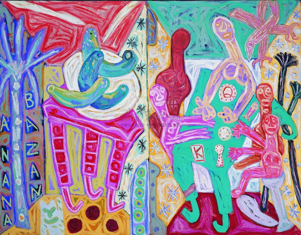 0153 1993年作 双室内,香蕉静物,打扑克牌 油画画布