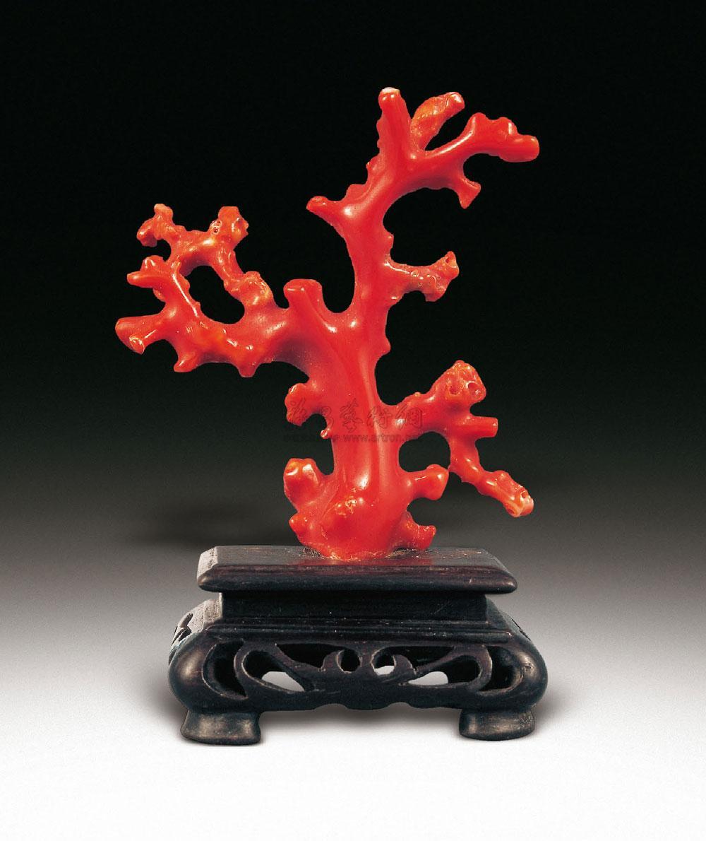 0074 清 红珊瑚树摆件