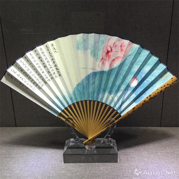 手绘古风扇子圆京剧
