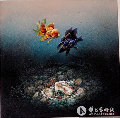 刘宽木板漆画作品《金鱼》.