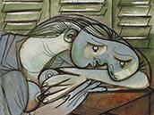 毕加索 百叶窗前沉睡的女子