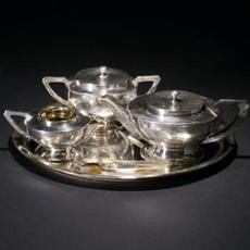 铜镀银茶具一套