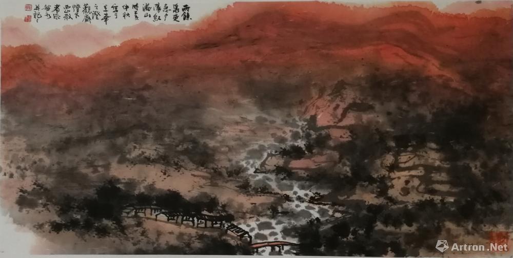 雨余全更急 夕阳红满山