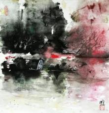 秋江轻舟图