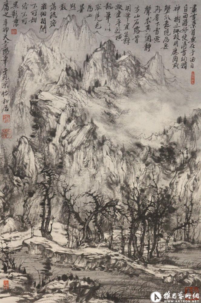 大土三阳作品:塞北暮雪图