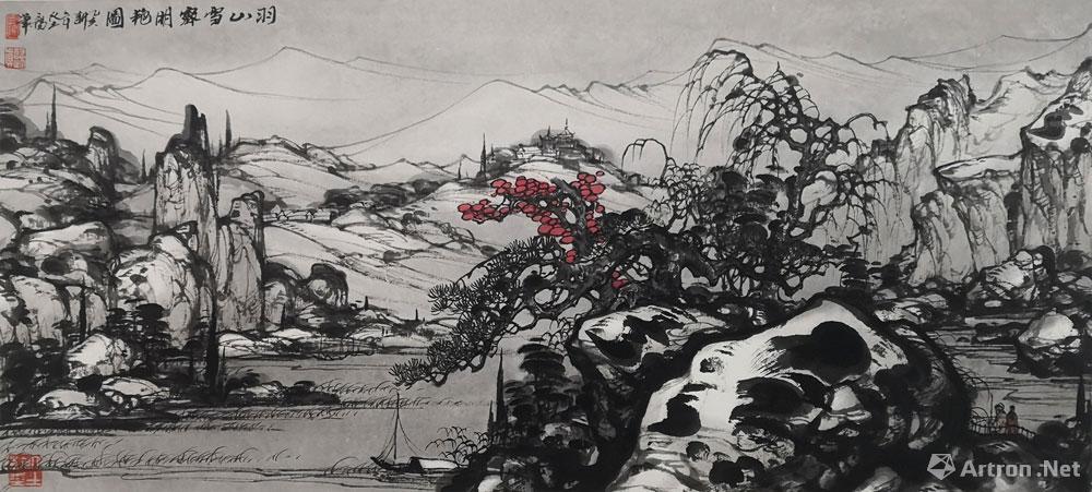 大土三阳作品:羽山雪霁明艳图