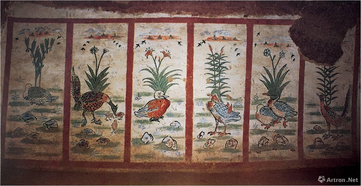吐鲁番阿斯塔那唐墓壁画 六扇花鸟屏风