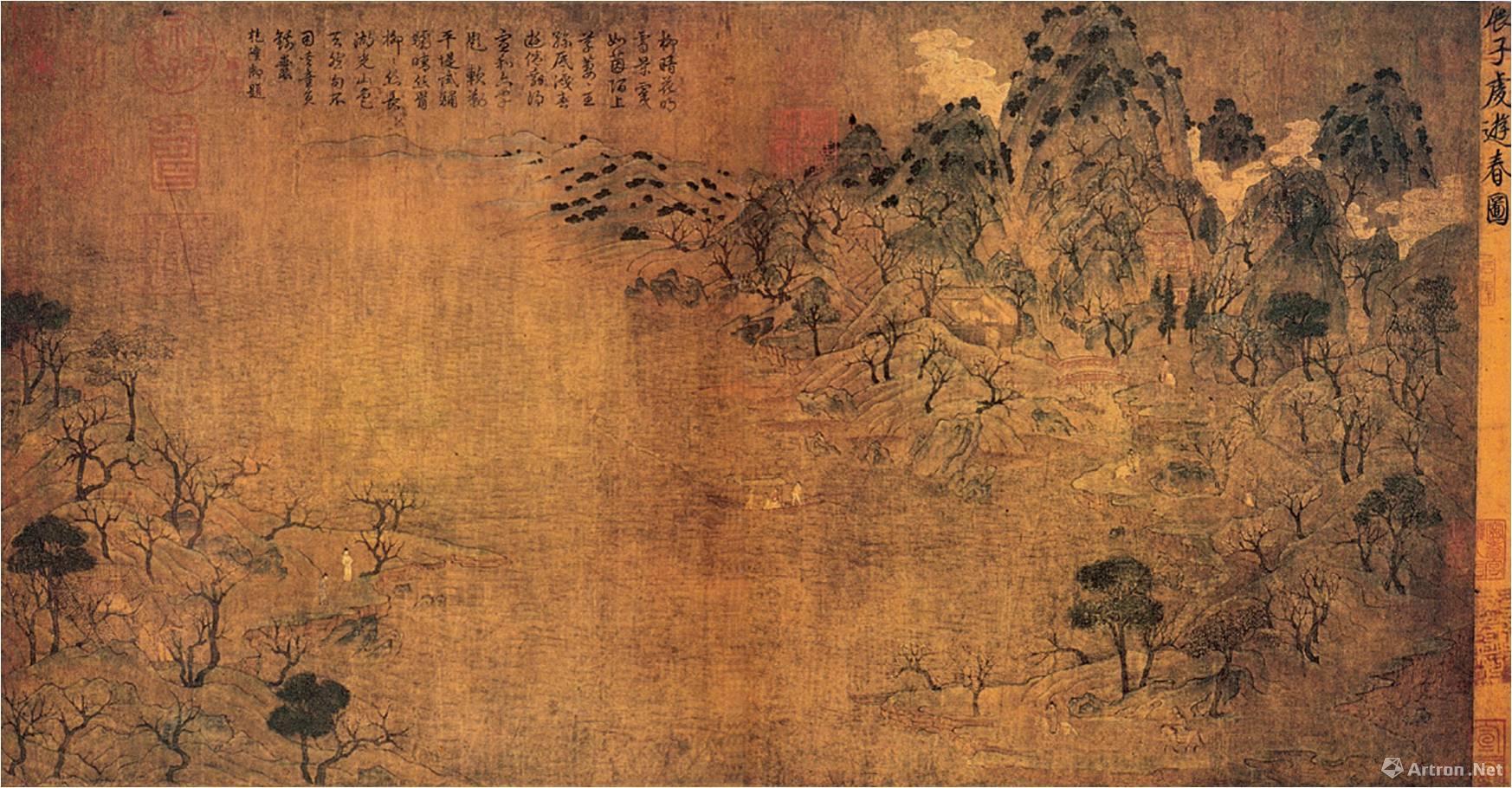 传 隋 展子虔《游春图》卷,技法特征:非常淡、薄涂的石青、石绿色