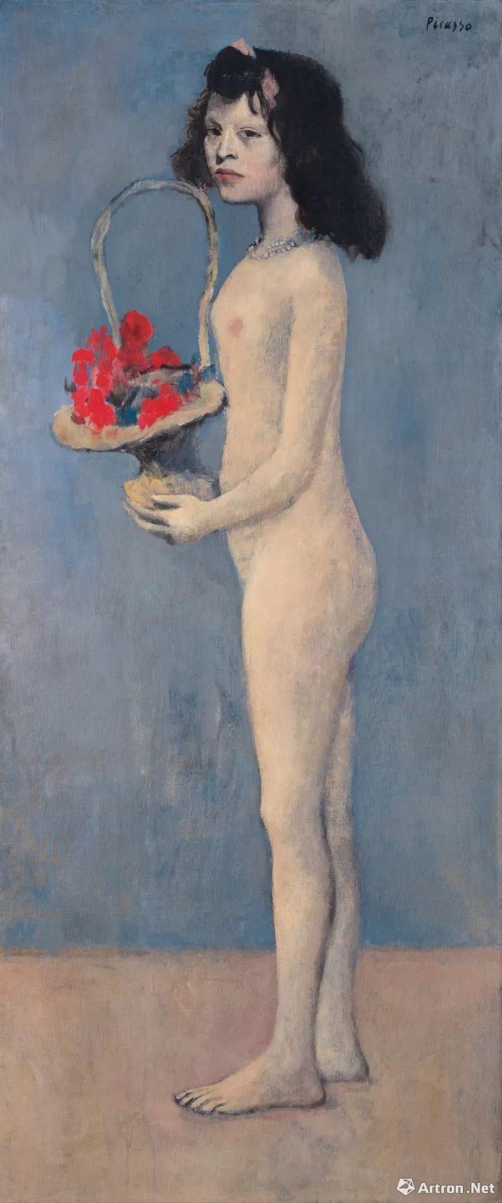 毕加索 《拿着花篮的女孩》1905年作