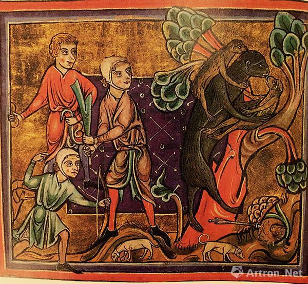 """""""狩猎偏袒的母猴"""",出自十三世纪动物寓言集Bodley 764抄本"""