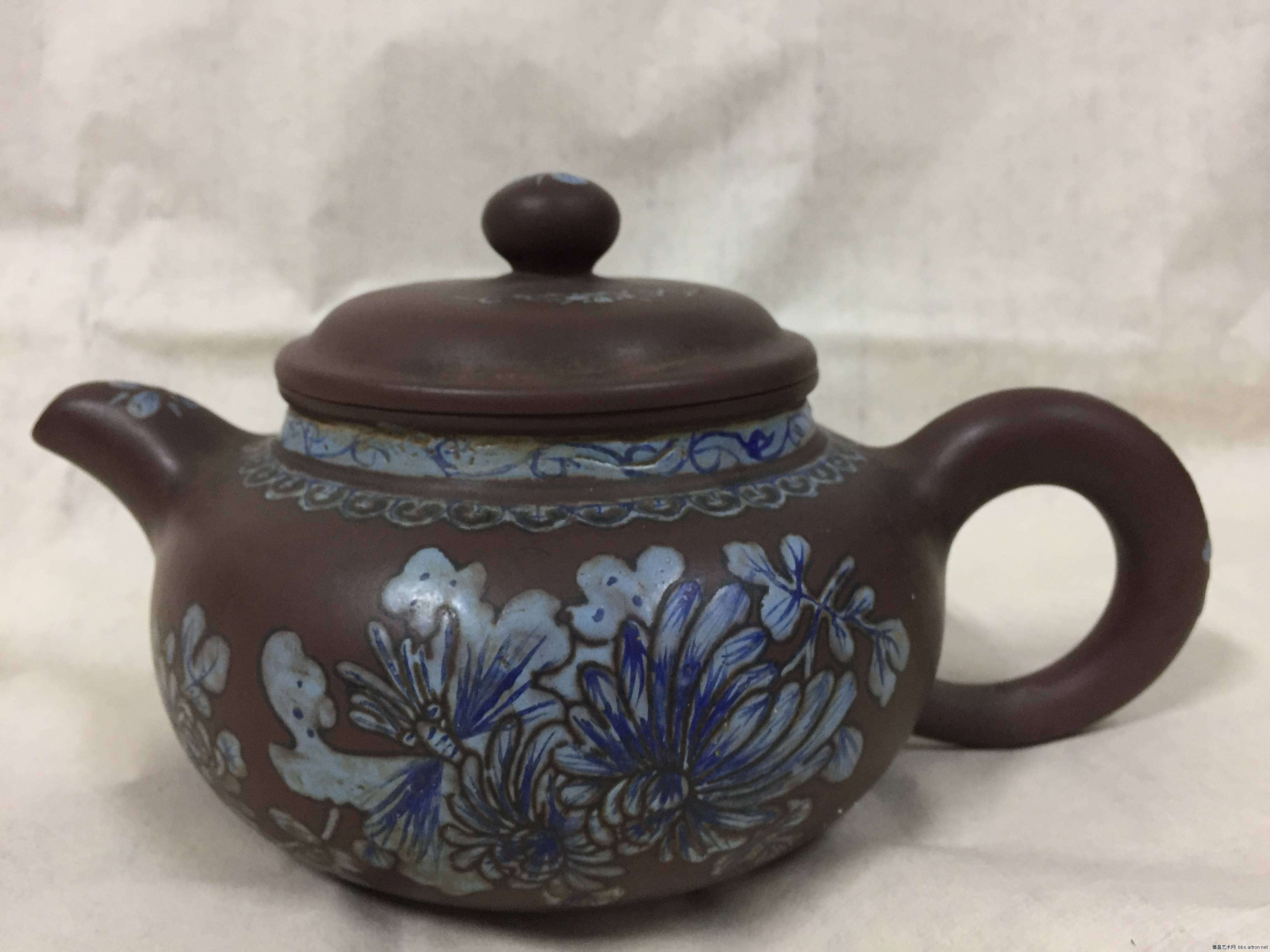紫砂挂彩 茶壶